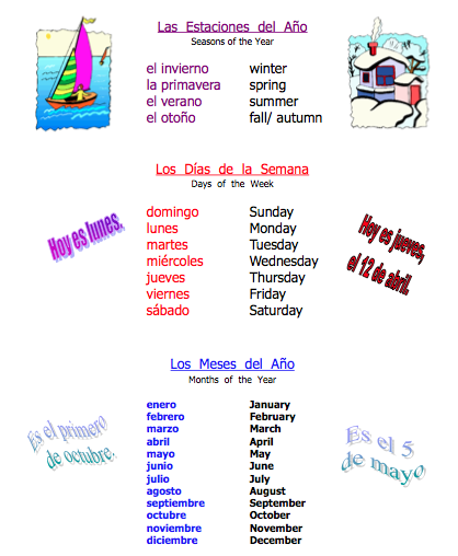 Spanish Seasons, Days of the Week, Months of the Year - Señora ...