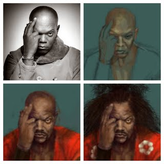 Samuel L Jackson Progression to Sho'nuff Sketch by Shen