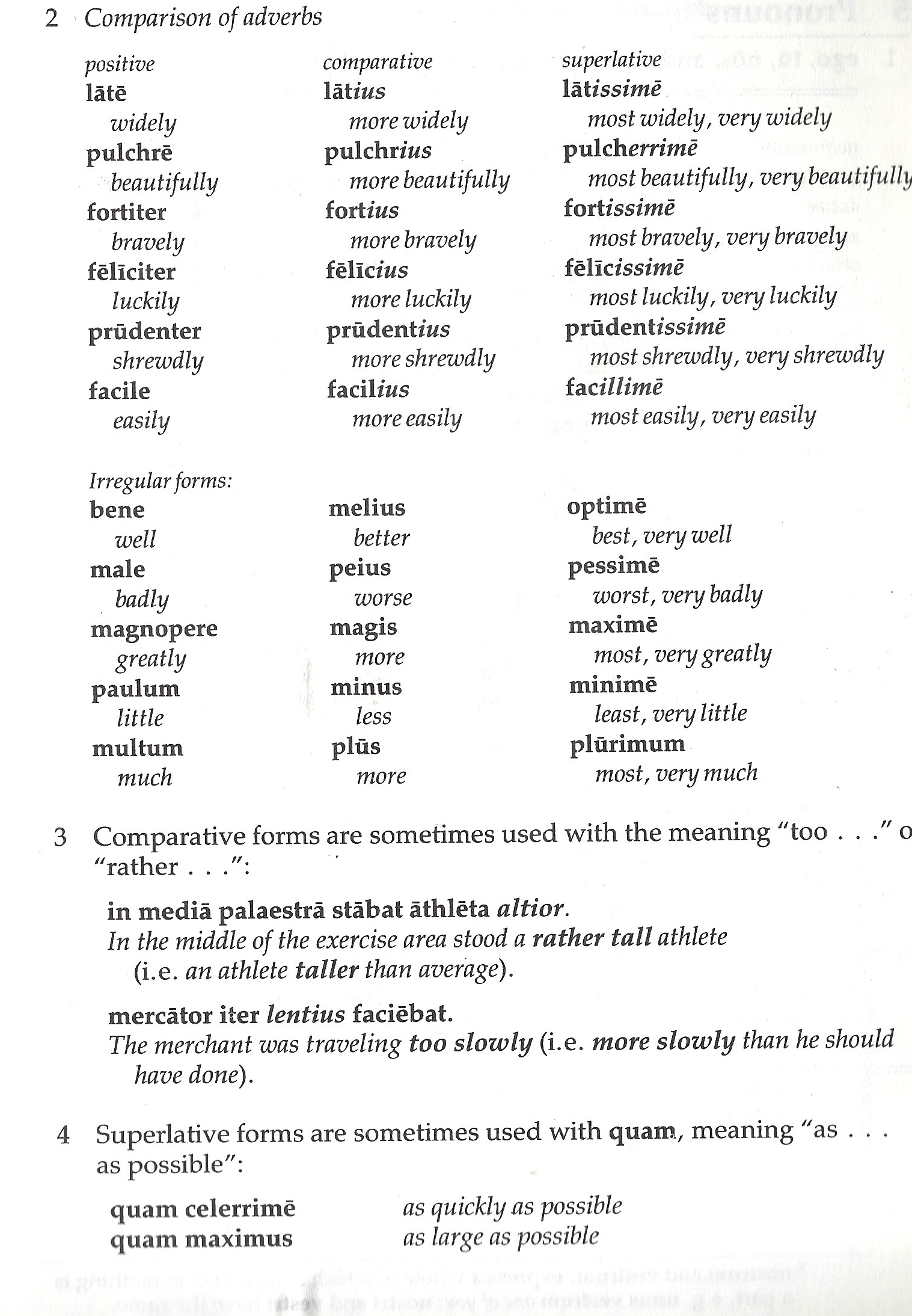 Latin Ii 2014 5 Comparison Of Adverbs Comparative And Superlative Forms G