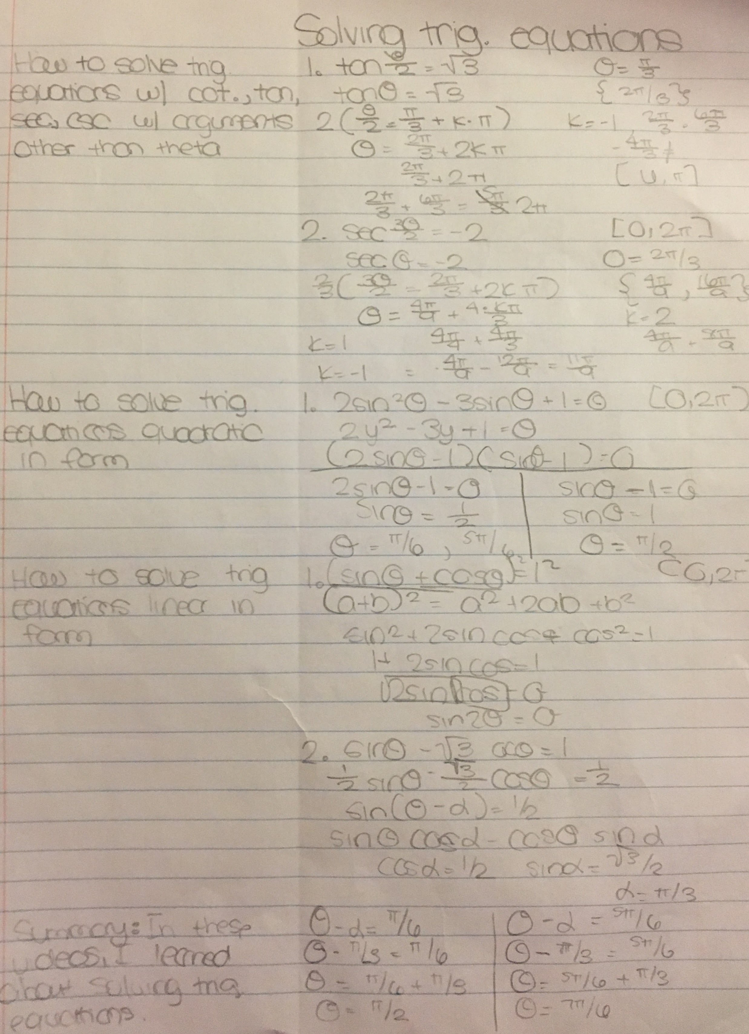 Solving trig  equations - Learn Trig with Angelina