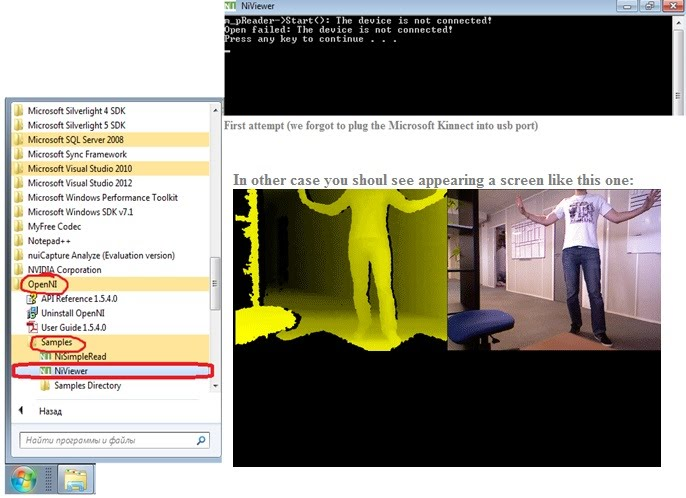 Niviewer as kinect data grabber.