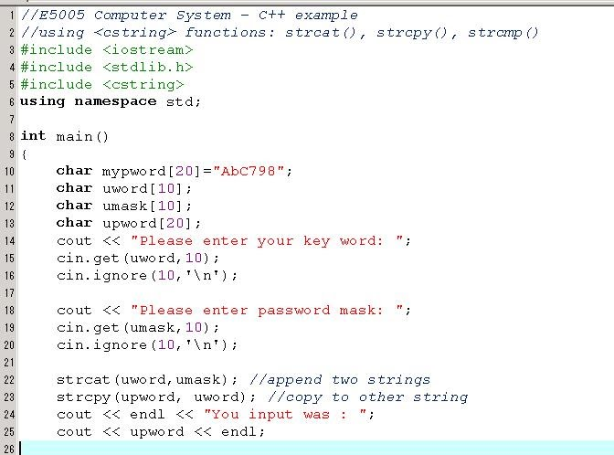 C++ Array 2 - char array and <cstring> - liangweiqiang