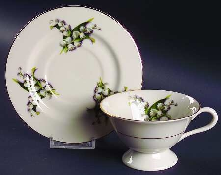 'Lily of the Valley' 2.5-inch-high Footed Cup and 6-inch Saucer Set