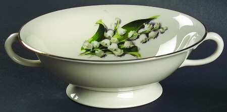 'Lily of the Valley' Footed Cream Soup Bowl