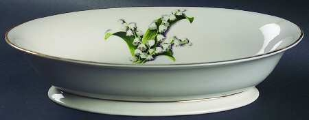 'Lily of the Valley' 10-inch Oval Vegetable Bowl