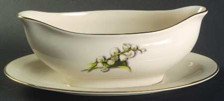'Lily of the Valley' Gravy Boat with Attached Underplate