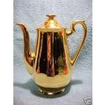 Hall 'Golden Glo' 3-cup 22K gold espresso pot & lid 2