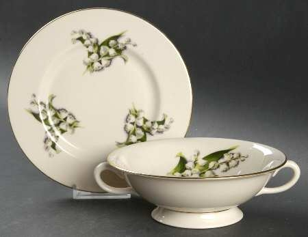 'Lily of the Valley' Footed Cream Soup Bowl and Saucer (OR Bread&Butter Plate)
