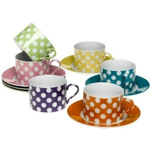 Classic Coffee and Tea Multi-Colored Polka Dot Cups & Matching Saucers
