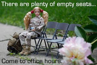 Soldier Barbie wants you to come to office hours