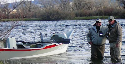 Bob Hudson, Owner and son Gage fishing the Bighorn River, Montana