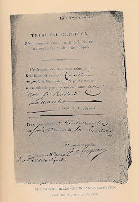 Pages from Madame Roland's memoirs.