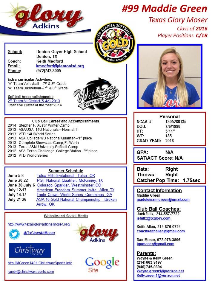player profile texas glory adkins moser maddie green. Black Bedroom Furniture Sets. Home Design Ideas