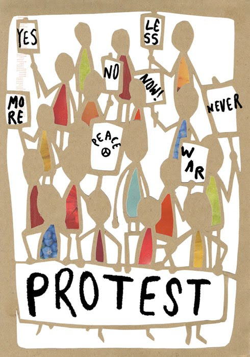protest, illustration friday, illustration, lara luna bartley, made by lara, edinburgh, drawing, collage, stick-people, magazinepaper, envelopes, re-made, re-cycled, up-cycled