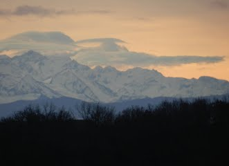 Stunning Views of the Pyrenees at sunset from Maison Pyron in winter