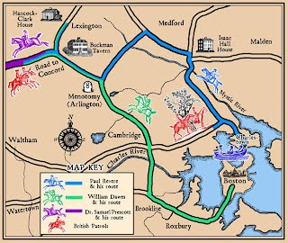Map Of Paul Revere\'s Ride Paul Revere's Ride   Manuel´s Revolutionary War Project