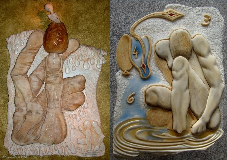Narcissus rebirth 1998-2015 surreal marble sculpture