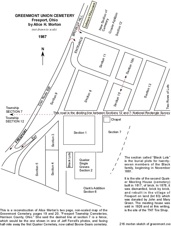 A diagram of the Greenmont Union Cemetery by township historian, Alice H. Morton