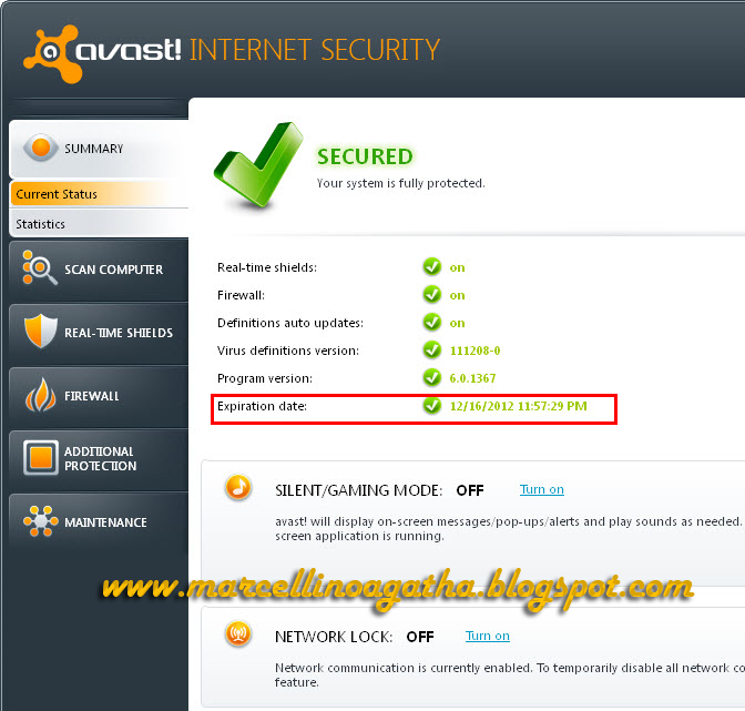 Key Avast Internet Security 6  License For 1 Year