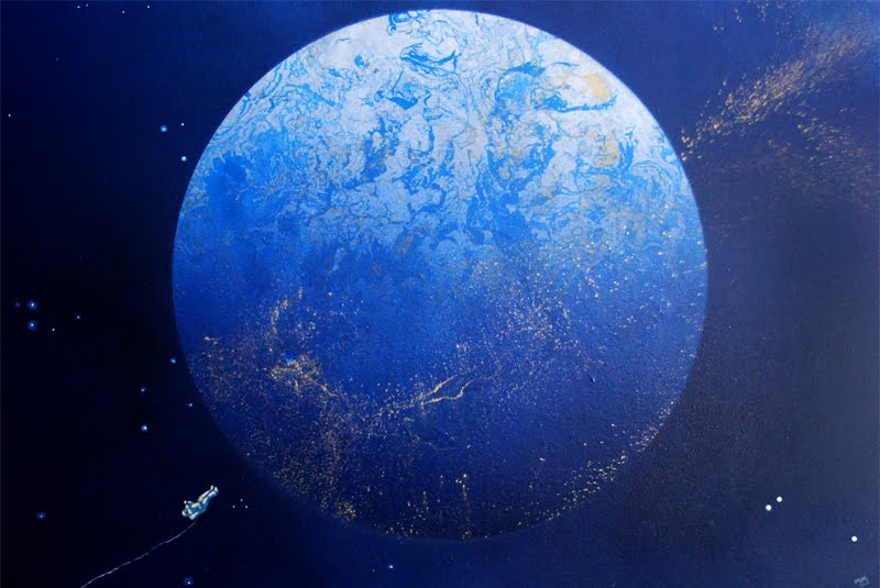 Acrylic painting representing a blue planet in space, with a astronaut floating above it on the lower left corner.