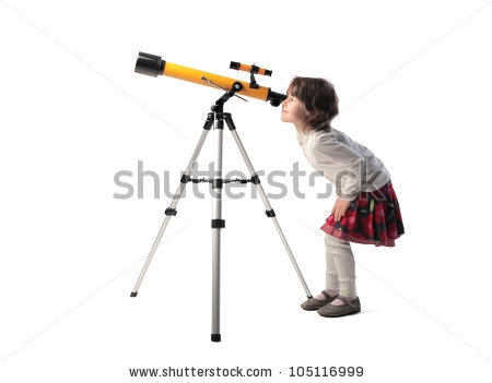 girl looking into a telescope