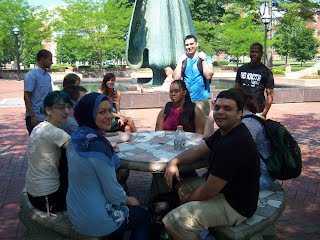 2012 Students relax near the fountain shown in the movie WE ARE MARSHALL.