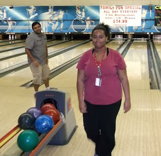 Misha Dowd on bowling night.  Nobody was great, but almost everybody got a strike, and everyone had fun!