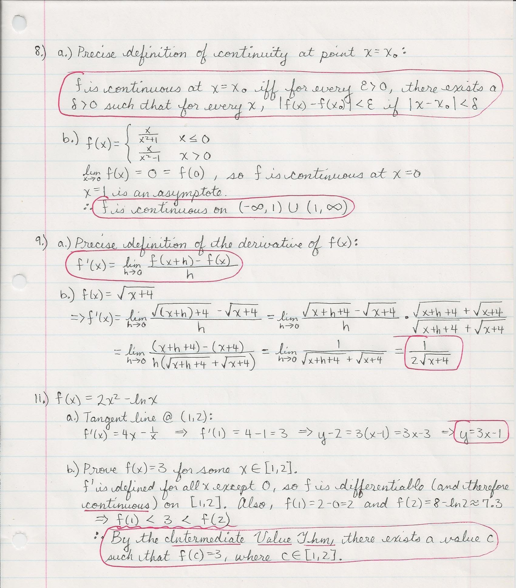 2012 fall final exam solution Math 180, exam 1, fall 2012 problem 2 solution 2 find the equation of the tangent line to y = p x+ 1 at x = 3 solution: to nd an equation for the tangent line we need a point on the line.