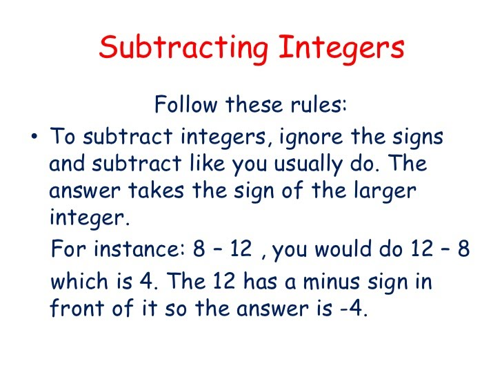 Worksheets Adding Integers Rules adding and subtracting integers rules chart rebecca s lindsay math worksheet notes mathematics form 1 chart