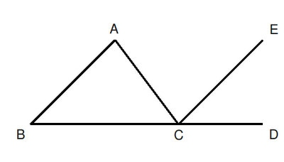 Draw CE Parallel To BA ^BACu003d^ACE (Alt. Angles In Parallel Lines) ^ABCu003d^ECD  (Int. Angles In Parallel Lines) So ^ACDu003d^ACE+^ECD So The Whole Exterior  Angle Is ...