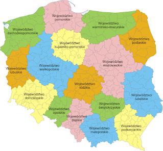 mapa polski z podzia em na wojew dztwa