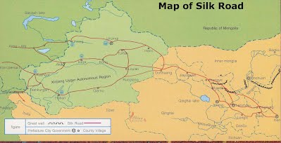 The Silk Road - China Taklimakan Desert Map on