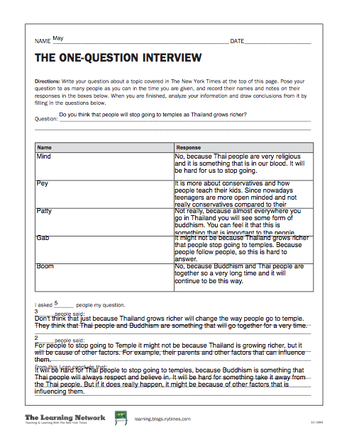 The New York Times: Worksheets - may_mrguylaclass