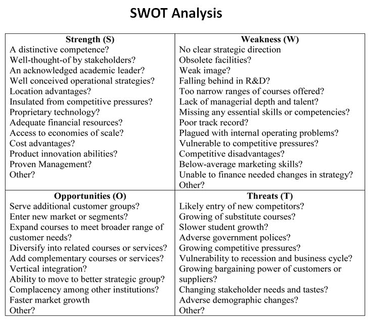 SWOT Analysis - The When-ing Team
