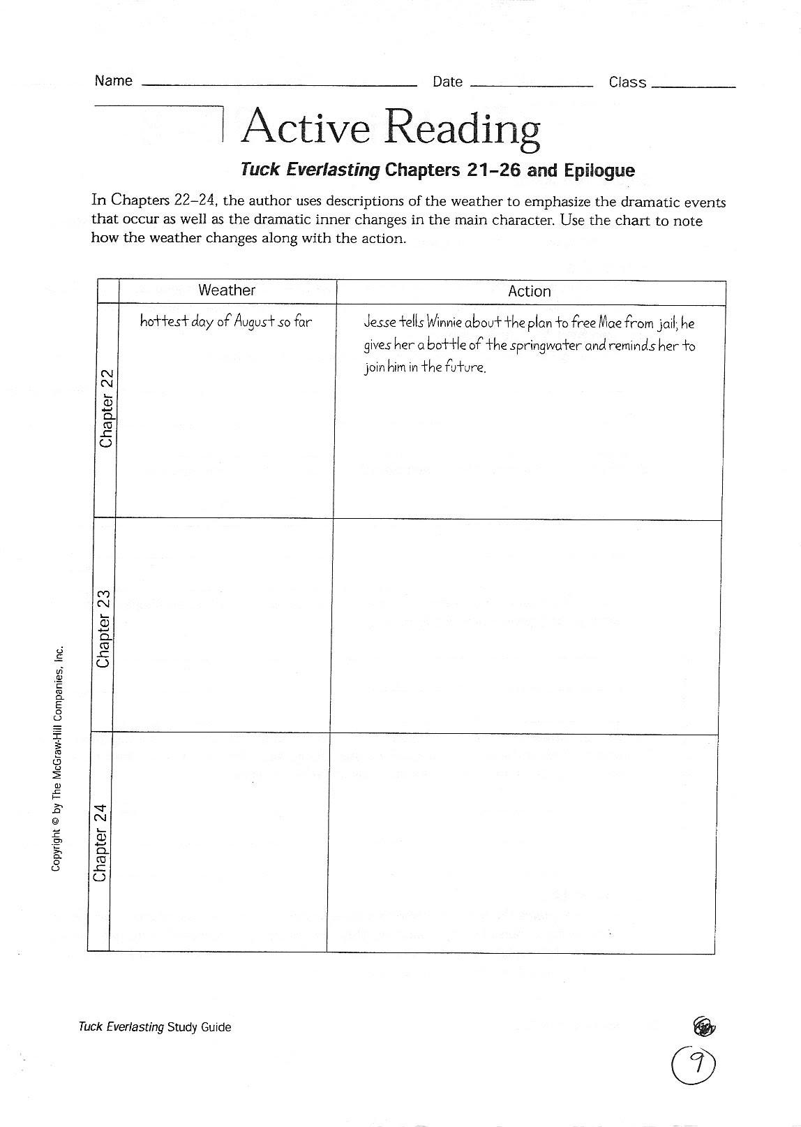 Tuck Everlasting Worksheets - Checks Worksheet