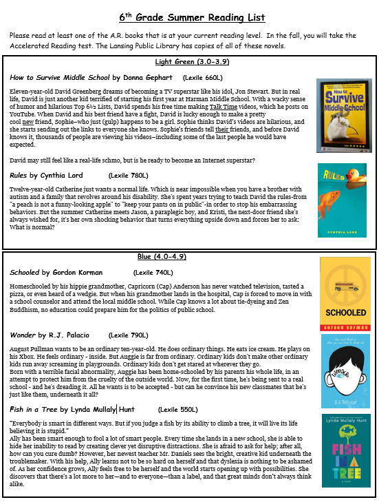 Summer Reading Lists (Word documents available at the bottom