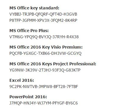 ms office 2016 using product key
