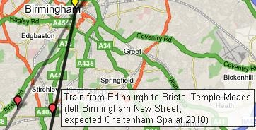 a similar google maps mashup has been created for trains in the uk national rail network live uk rail map