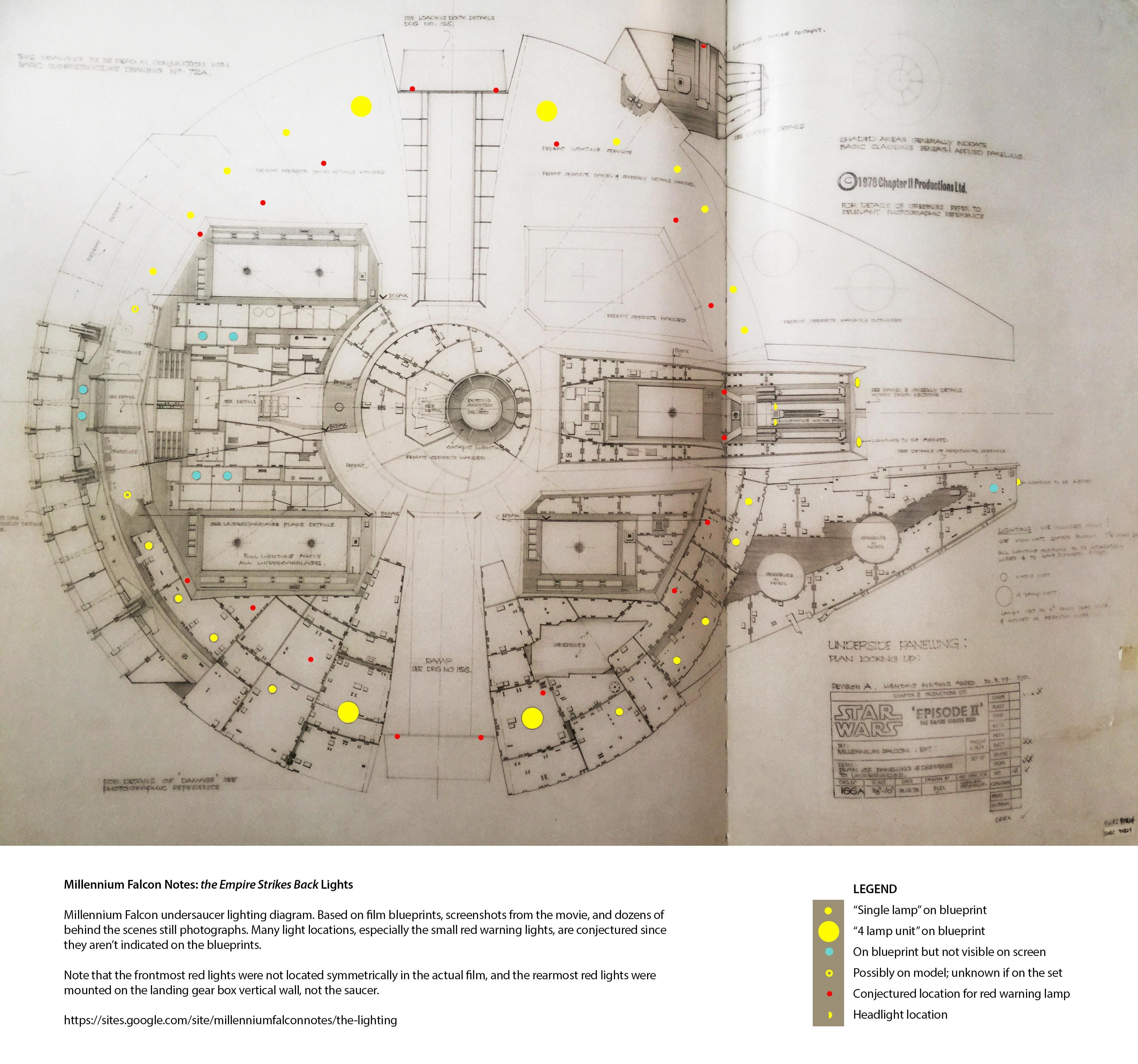 part iii the lighting millennium falcon notes lighting design diagram now, it's probably not 100% accurate, and it certainly differs from other people's theorized lighting diagrams this is in large part because the final set