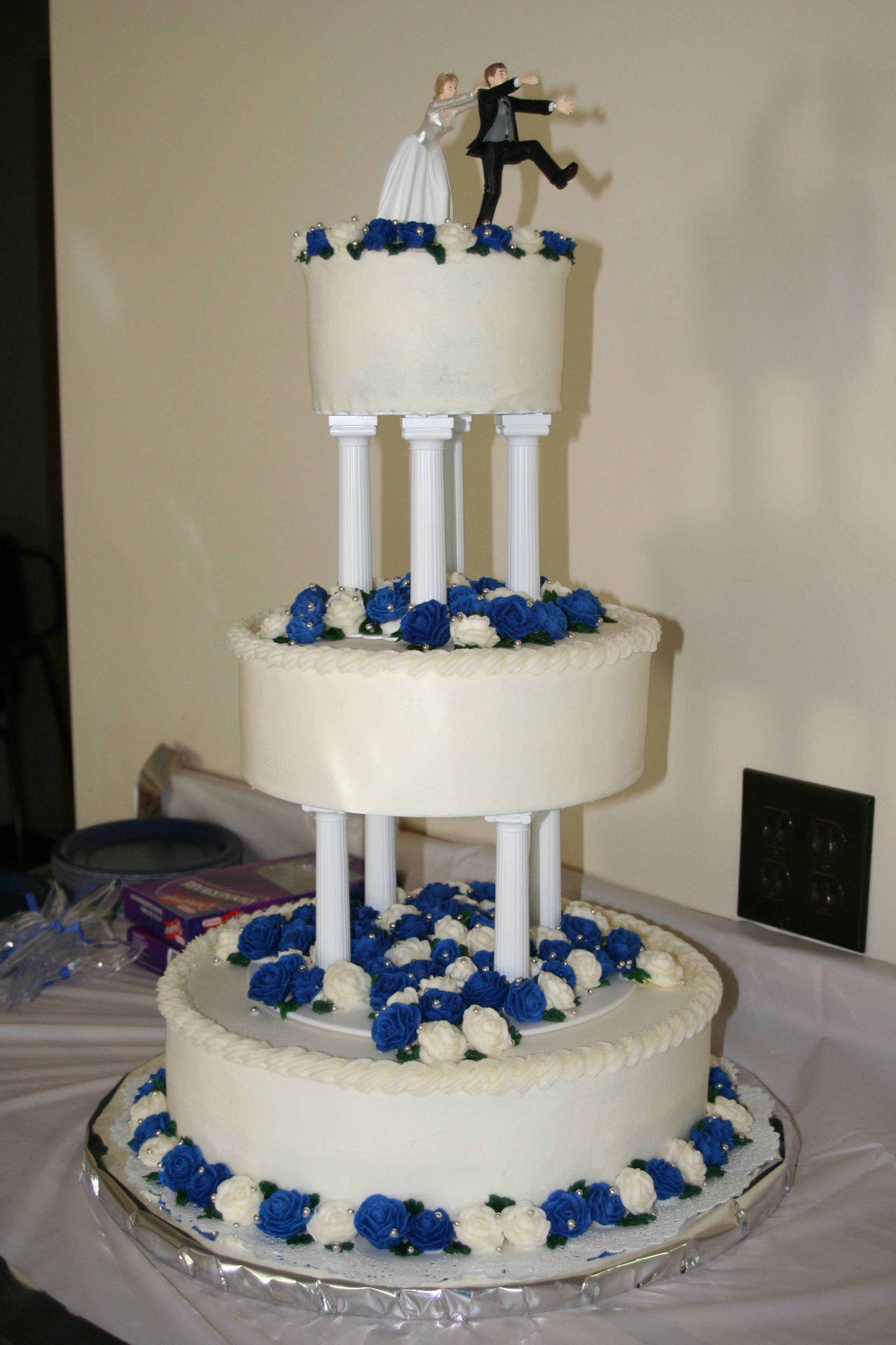 Blue And Gold Wedding Cakes