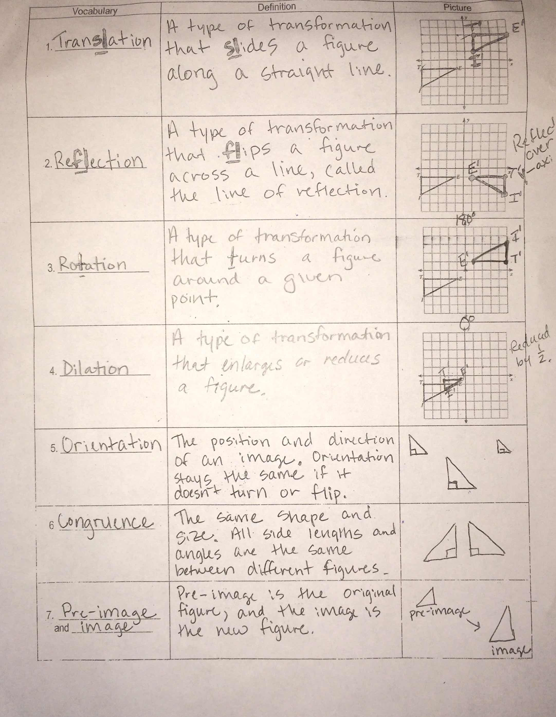 worksheet Transformation Worksheets 8th Grade unit 6 transformational geometry miss jones 8th grade math geometry