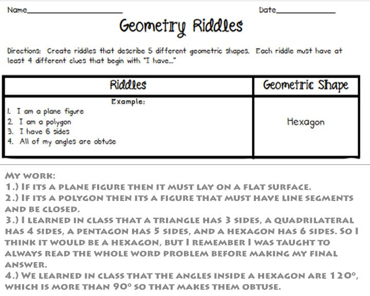 Word Problems - Miss Wright'S 1St Grade Geometry Unit