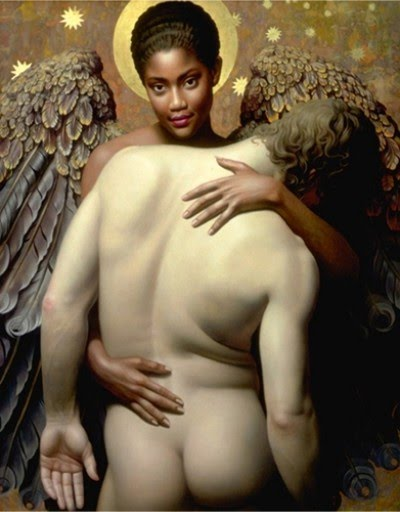 realistic oil painting angel holding naked man
