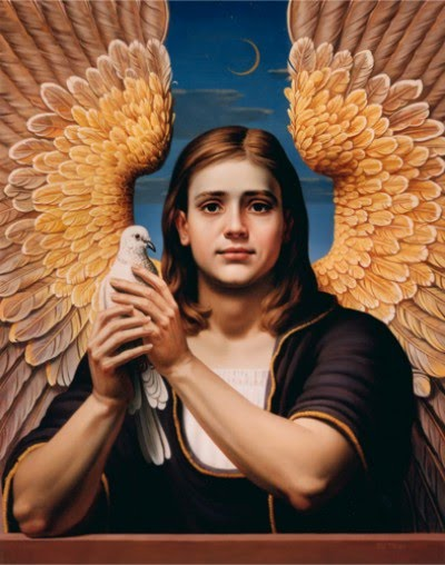 realistic figurative painting angel with dove