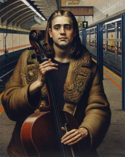 realistic figurative painting of musician