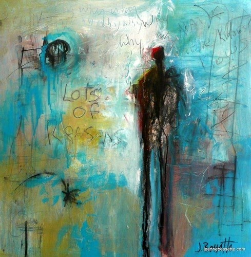 blue figurative abstract painting