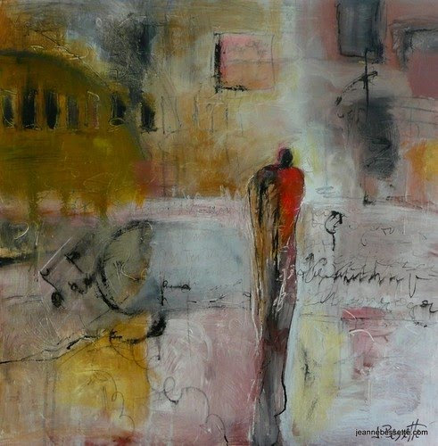 painting abstract person city