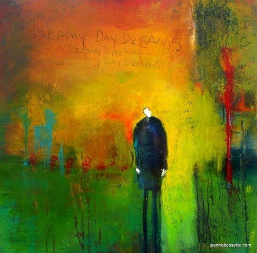 green and yellow figurative abstract painting