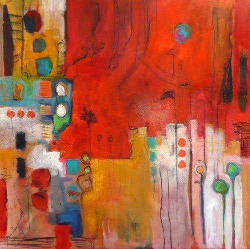 colorful city-like abstract painting by jeanne bessette