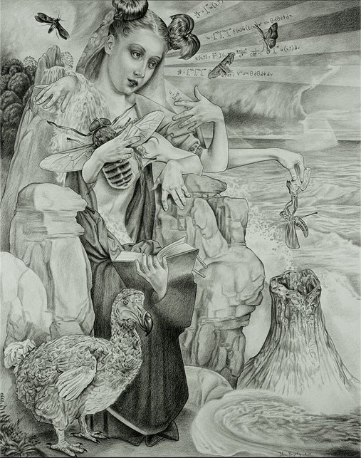 artist john brophy's drawing of a modern mother and child but with the mother holding a large honey bee